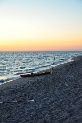 Free Picture: Photo of a sea kayak pulled onshore at Captiva Island in FL just after sunset.