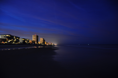 Free Picture: Photo of the Daytona Beach shore with the lights of hotels and condos at night in Florida.