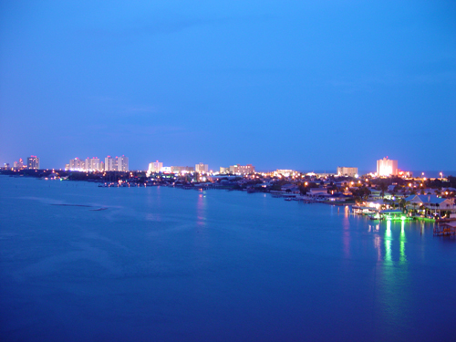 Free Picture: Photo of the Daytona Beach Shores skyline over the river also with a view of the ocean.