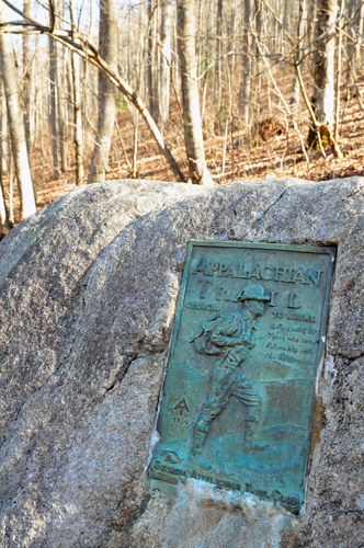 Free Picture: Photo of the plaque of the Appalachian Trail housed in stone near Unicoi Gap that meets up with GA Highway 75.