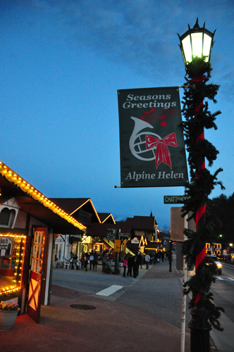 Free Picture: Photo of Christmas on Main Street in Alpine Helen Georgia that has an old world Bavarian Swiss type of feel.