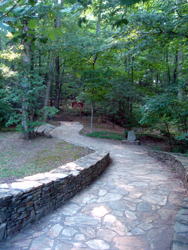 Free Picture: Photo of the stone walkway at the start of the East Ridge Trail at Amicalola Falls State Park.