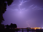 Free Photo of Lightning Bolt Strike River Palm Trees Daytona Beach Florida
