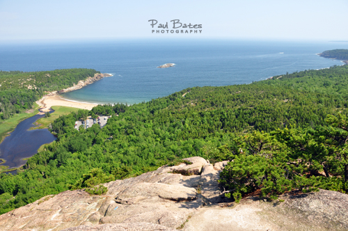 Free Picture: Photo of the view down to Sand Beach, Acadia National Park, from the top of the Beehive Trail.