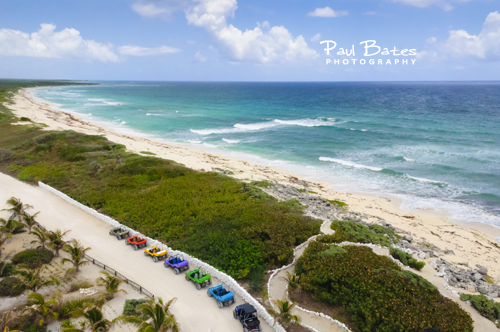 Free Picture: Photo of Punta Sur Ecological Park in Cozumel, Mexico with colorful dune buggies from a Carnival cruise excursion.