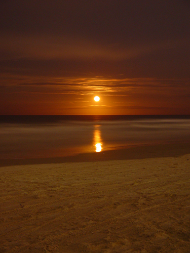 Free Picture: Photo of a Martian colored red moon rising on the beach over the ocean in Florida.