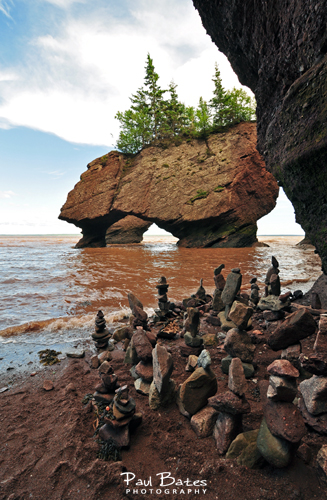 Free Picture: Photo of rocks stacked near the shore at high tide at the Hopewell Rocks or