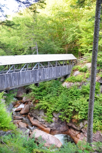 Free Picture: Photo of the covered wooden bridge, The Sentinel Pine Bridge, a footbridge in Franconia Notch State Park.