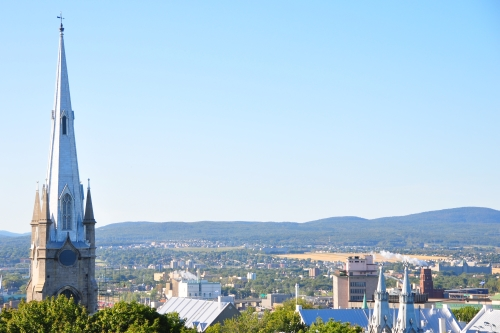 Free Picture: Photo of the spire of the Chalmers Wesley Church soaring over much of Old Quebec City.