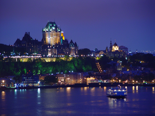 Free Picture: Photo of Chateau Frontenac castle and hotel at night in Quebec City, Canada.