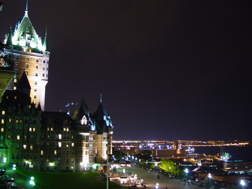 Free Picture: Photo of Chateau Frontenac castle and hotel overlooking the boardwalk near the St. Lawrence River in Quebec City, Canada.