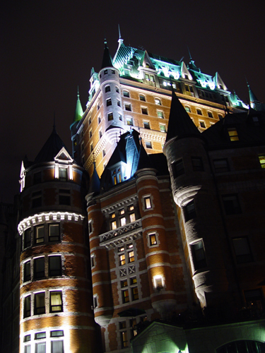 Free Picture: Photo of Chateau Frontenac castle lit up at night with romantic lighting in Quebec City, Canada.