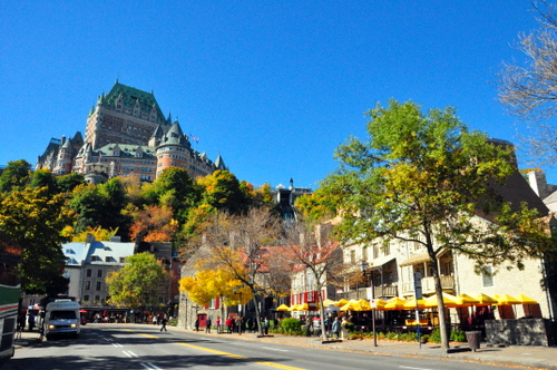 Free Picture: Photo of the grand Hotel Frontenac also known as Chateau Frontenac high above city streets in Quebec City, Canada.