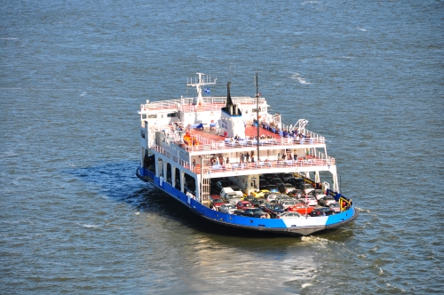 Free Picture: Photo of the ferry boat from Quebec City to Levis loaded with vehicles crossing the St. Lawrence River.