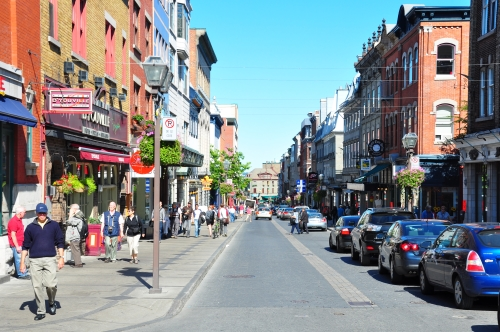 Free Picture: Photo of Rue Saint Jean packed with tourists in the summer in Old Quebec City.