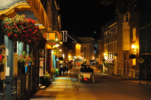 Free Picture: Photo of the night life on Rue Saint Louis with tourists and a horse drawn carriage in Quebec City, Canada.