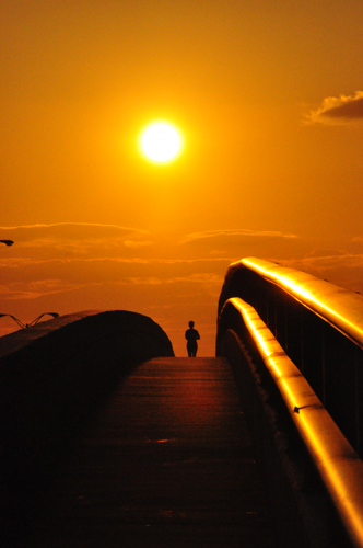 Free Picture: Photo of a runner jogging down the Dunlawtona Bridge during a beautiful orange sunset in Daytona Beach, Florida.