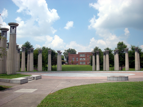 Free Picture: Photo of a circle of columns containing bells at Bicentennial State Park in TN.